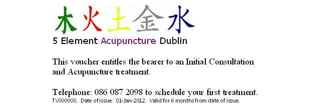 5 Element Acupuncture Dublin - Gift Vouchers